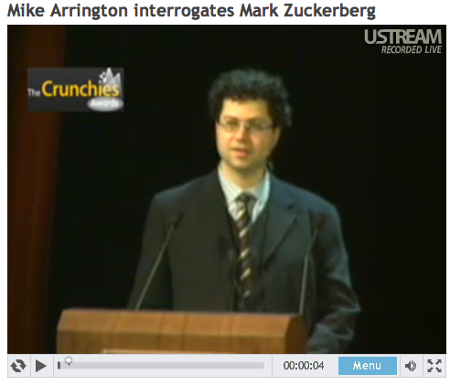 "Video ""Mike Arrington interrogates Mark Zuckerberg"" on usteam"