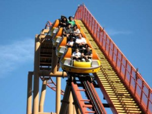 Spinning-Coaster Sidewinder in Camp Snoopy