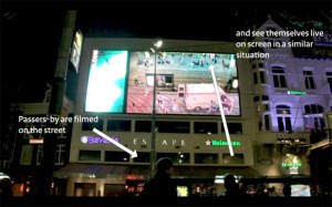 Live interactive mega billboard against aggression