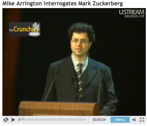 """Video """"Mike Arrington interrogates Mark Zuckerberg"""" on usteam"""